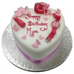 Heart Shape Mums Birthday Cake