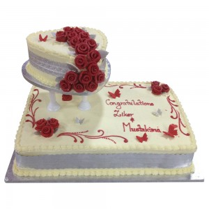 2 tier slab and round engagement cake