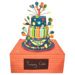 3 tier round polka dots 1st Birthday Cake