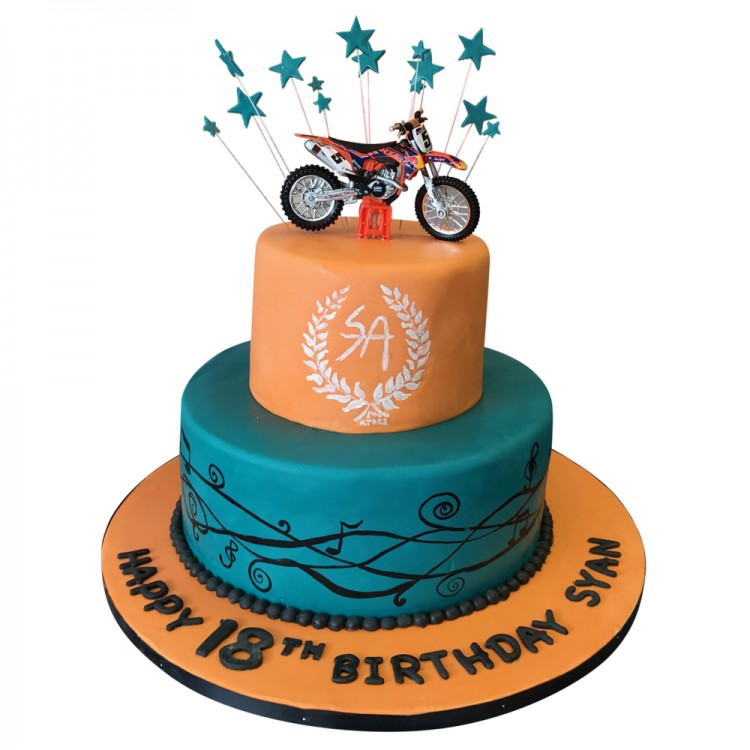 Tremendous Girls 2 Tier Dirtbike Birthday Cake 18Th Birthdays Funny Birthday Cards Online Alyptdamsfinfo