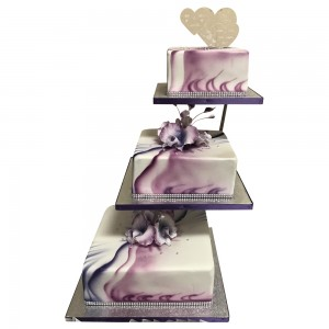 3 tier square marble effect wedding cake