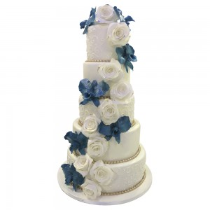 5 tier roses and orchids trail wedding cake