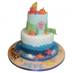 Kids Cartoon Sea Creatures Birthday Cake