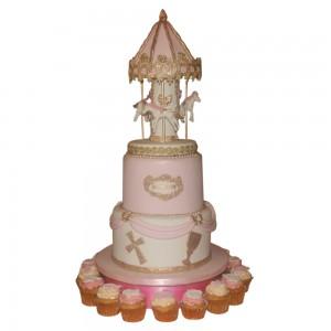 2 tier Carousel Christening Cake