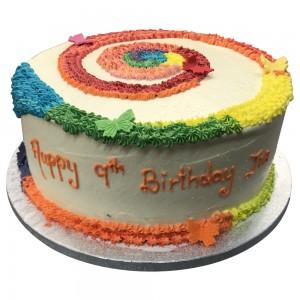 Round rainbow swirl Cake
