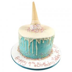 Fallen Ice Cream Drip Cake