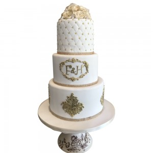 3 tier criss cross wedding cake
