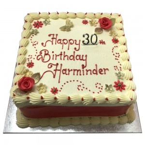 Ladies 30th Square Buttercream Cake