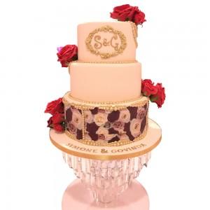 3 tier Round Floral Print Wedding Cake