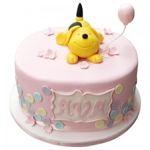 Girls Pink and Yellow Puppy Topper Cake