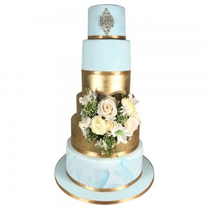 5 Tier Pale Blue and Gold Wedding Cake