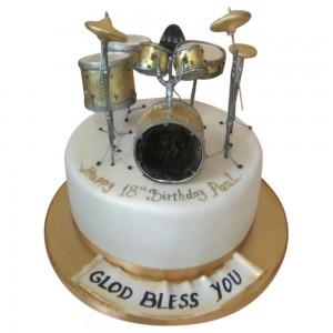 Round Drum Kit Cake