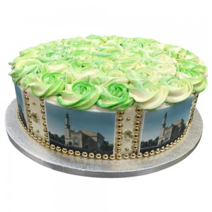 Round rosette cake with landscape pictures