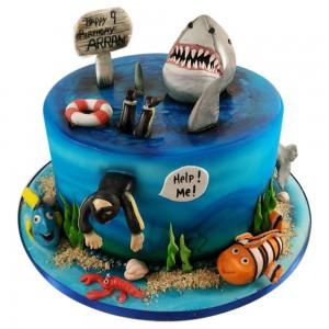 Round Jaws Birthday Cake
