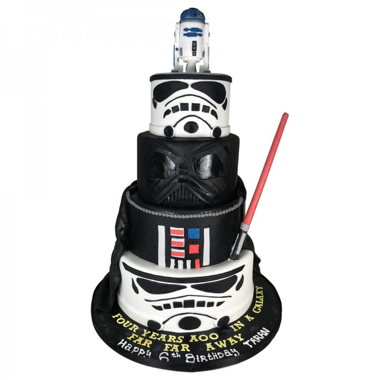 Sensational 4 Tier Round Star Wars Birthday Cake Birthday Cakes Personalised Birthday Cards Paralily Jamesorg