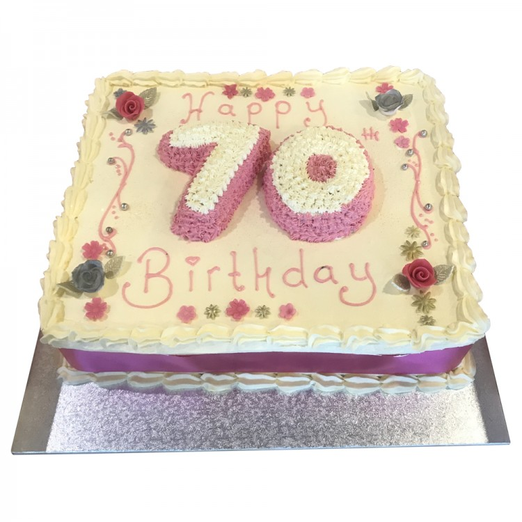 Brilliant Ladies 70Th Buttercream Cake Ladies Birthday Cakes Personalised Birthday Cards Sponlily Jamesorg