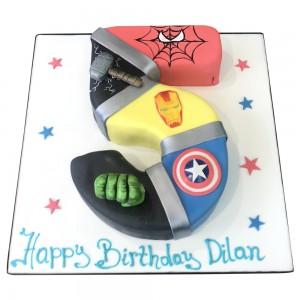 Marvel Avengers Number 5 Shape Cake