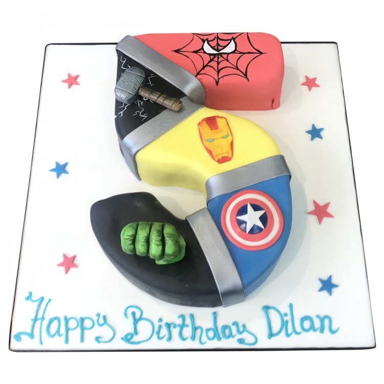 Tremendous Marvel Avengers Number 5 Shape Cake Leicester Funny Birthday Cards Online Alyptdamsfinfo