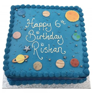 Square Solar System Buttercream Cake