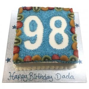 Blue Freshcream Birthday Cake