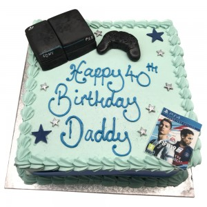 Square Buttercream cake with playstation toppers