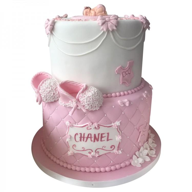Pleasant 2 Tier New Baby Girl Birthday Cake Baby Shower Cake Personalised Birthday Cards Paralily Jamesorg