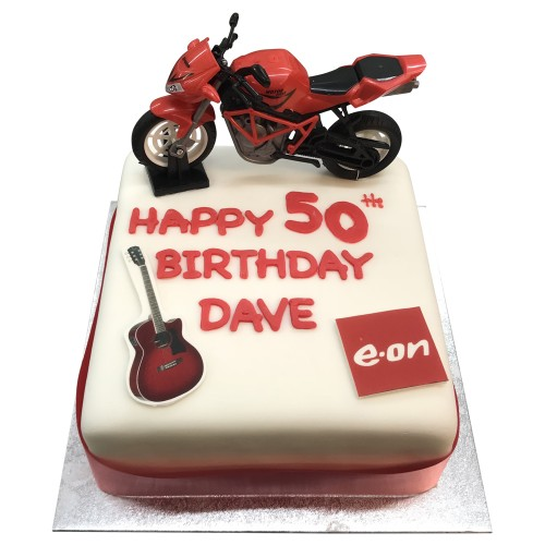 50th Birthday cake with Motorbike figure