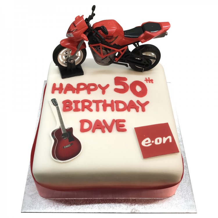 Cool 50Th Birthday Cake With Motorbike Figure 50Th Birthday Cake With Funny Birthday Cards Online Alyptdamsfinfo