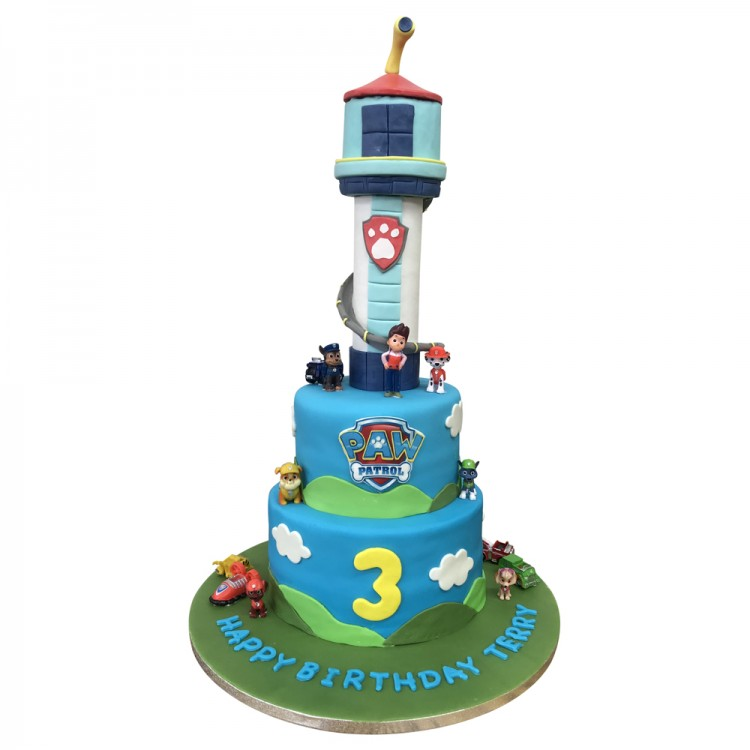 Magnificent Paw Patrol Tower Cake Paw Patrol Tower Cake Leicester Personalised Birthday Cards Beptaeletsinfo
