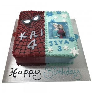 2in1 spiderman & frozen cake