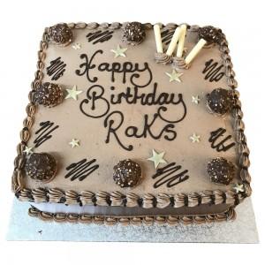 Chocolate buttercream cake with ferrero rocher