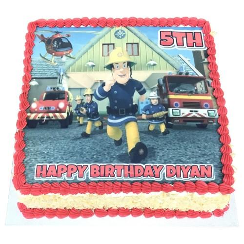 Fireman Sam Buttercream Picture Cake