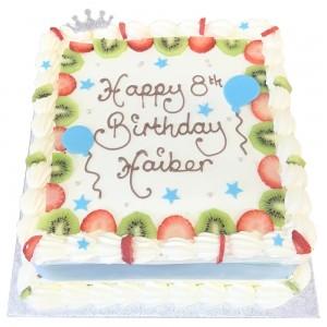 Freshcream with fresh fruits cake with silver tiara