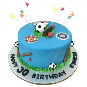 Football and Cricket Toppers Cake