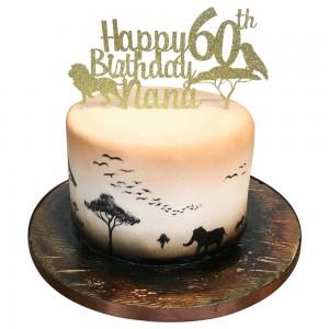 Mens 60th Safari Theme Cake