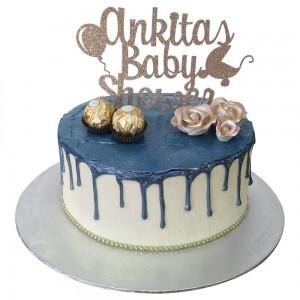 Blue Choc Drip Baby Shower Cake