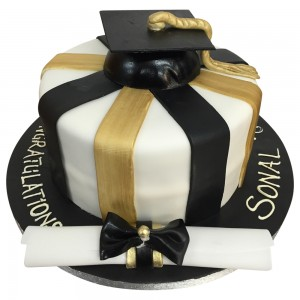 Girls Striped Graduation Cake