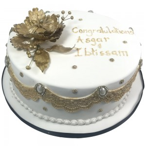 Gold engagement Cake