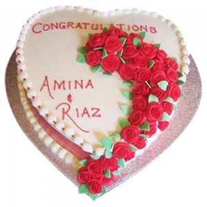 Rose Trail Heart Cake