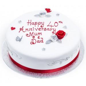 Red Fondant Anniversary Cake