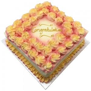 Square Rosettes Cake