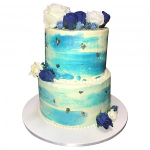 Blue & White Ombre Wedding Cake