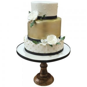 3 tier gold and white Cake