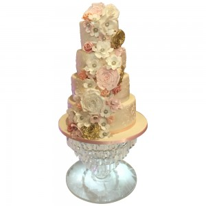 Golden Pink Wedding Cake