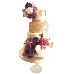 Golden Flower Bouquet Cake