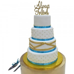 Turqouise Wrapped Wedding Cake