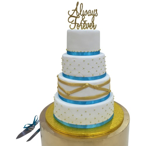 Turqouise Wrapped Wedding Cake