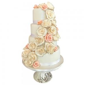 4 tier round floral cascade cake
