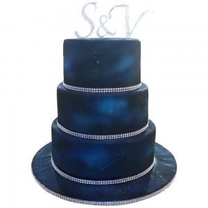 Deep Blue Space Wedding Cake