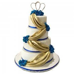 Golden Cloth Draped Wedding Cake